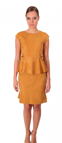 Goat Suede Blouse and Skirt